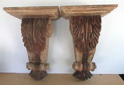 Pair of Carved Wood Corbels - Wall Shelf Decor - Architectural Feature