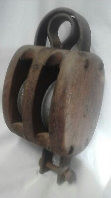 Vintage/Antique Nautical Ships Double Pulley Block Timber Cast Iron