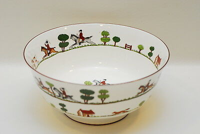 Crown Staffordshire HUNTING SCENE Footed Oriental Salad Serving Bowl 10.5 Inch