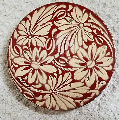 """Vintage Rex Fifth Ave Red with Raised White Flowers Compact 4"""" Round Powder Puff"""