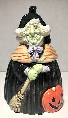 fitz and floyd halloween green witch cookie jar 1988 vintage charming