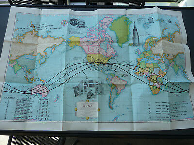 Original Seattle World's Fair 1962 World Map Commemorating Glenn Orbital Flight