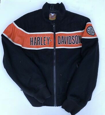 Harley Davidson Motorcycle Racing Wool Leather Jacket Coat USA Made Heavy L