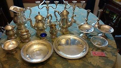 International Sterling Prelude tea set, candelabras, compotes, platter, bowls +
