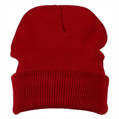 Winter Beanie Knit Ski Cap Hat Warm (wine Red) J4U3