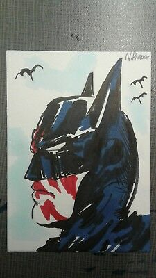 BATMAN Original Art Card #2 of 4 Comic Ink Sketch Signed Parrish ACEO Drawing