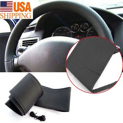 PU Black Leather Car Truck Auto Steering Wheel Cover With Needles and Thread DIY