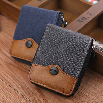 Men's Canvas Purse Short Student Mini Wallet Hand Bag Coin Pocket Card Holder