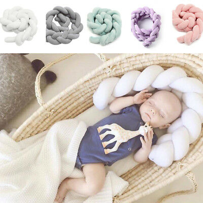Baby Infant Plush Crib Bumper Bed Bedding Cot Braid Pillow Pad 1/2/3M Protector