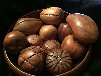Hand Carved bowl With Wood Fruit, Vintage, Modern.  Mid Century. Kitchen Decor.