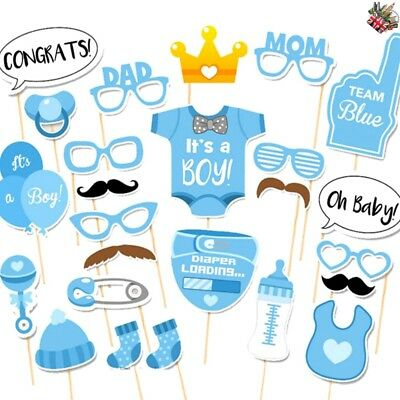 20/25pcs Baby Shower Photo Booth Props Little Boy New Born Party Decoration