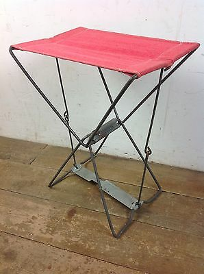 Vintage Child's Folding Camping Stool Chair Steel Old Retro Picnic Fishing