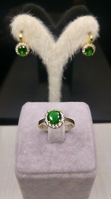 925 Sterling Silver  Jewelry Emerald Ladies Earring & Ring Sets