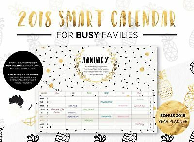 2018 Smart Calendar Family Organiser BLACK & GOLD stapled 100% Aussie