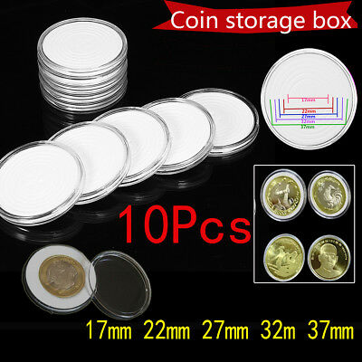 10x Clear Round Plastic Coin Capsule Container Storage Box Holder Case 17 ~ 37mm