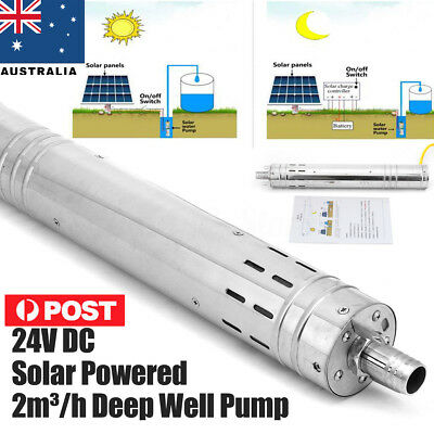 DC 24V 40m 2m³/H Solar Water Powered Pump Submersible Bore Hole Pond Deep Well