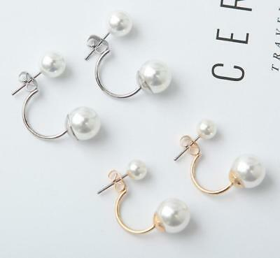 Fashion Elegant Silver Gold Double Sided Faux Pearl Stud Charm Earrings Jewelry