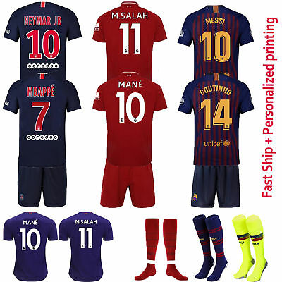 2019 New Football Soccer Kit Kids Short Sleeve Jersey 3-12 Yrs Outfit Set+Socks