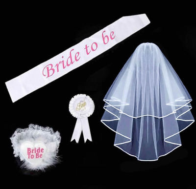 4pcs Bride to Be Set Rosette Sash Garter Badge Veil Hen Night Party Do Accessory