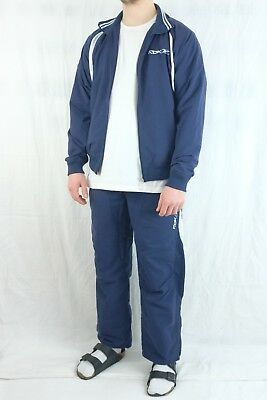 REEBOK True Vintage Trainingsanzug Zweiteiler Track Suit Navy Blue 50 M 80s 90s