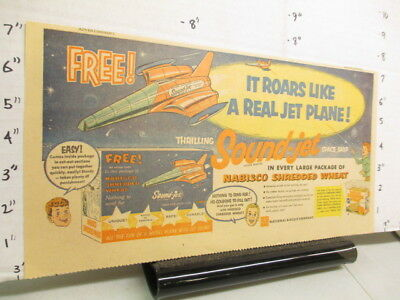 newspaper ad premium 1950s Nabisco cereal box Sound-Jet plane space ship glider