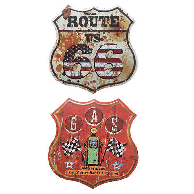 2x Antique Shield Door Gate Tin Sign Cast Metal Garage Route 66 Wall Plaque