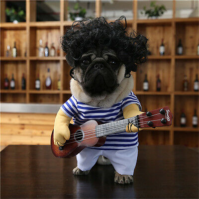 Funny Pet Guitar Player Dog Costume Dress Up Party Cosplay Clothes For Dogs Cats