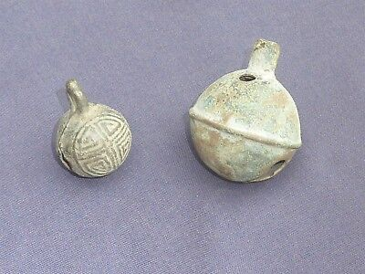 2 Ancient Bronze Bells, 1 Lucky With Good Luck Symbols