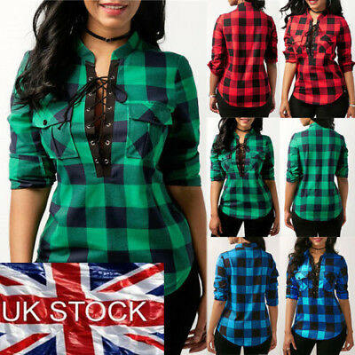 Women Lace Up Plaid Checked Tee T-Shirt Ladies Casual Shirts Tops Blouse UK HC