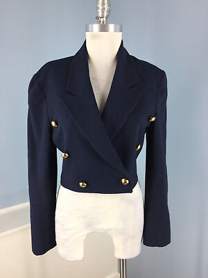 cb49cb19e930 Vintage Ann Taylor Navy Blue 100% wool Cropped Double breasted Blazer Jacket  S