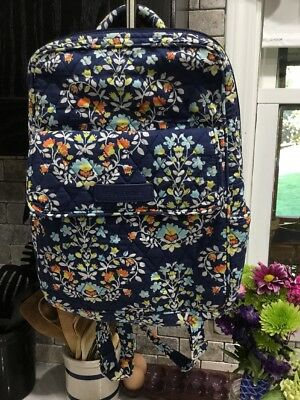 Vera Bradley Backpack Hands Free Purse In Chandelier Floral Pattern Blue