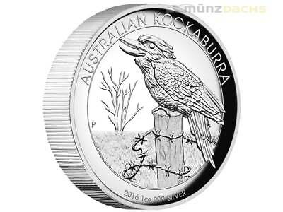 1 $ Dollar Kookaburra High Relief Australien 1 oz Silber Silver Proof PP 2016