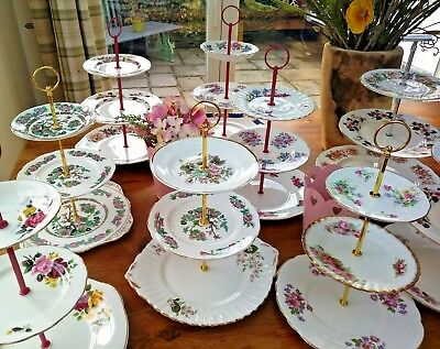 Vintage  Bone China 3 Tier Cake Stands. Vintage Themed Wedding Tea Party