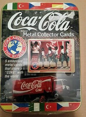 Coca-Cola Coke Around the World Metal Collector Cards set of 5 UNOPENED - 1996