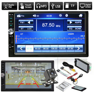 "7"" 2DIN Car MP5 Player Bluetooth Touch Screen Stereo Radio 1080P HD +Rear Camera"