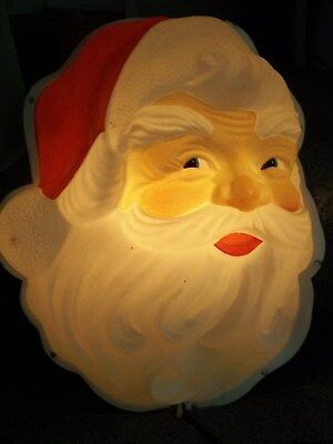 Vintage 3-D Illuminated Plastic Santa Face W/ Tin Backing Wall Hanging