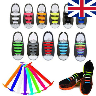 32X Easy No Tie Elastic Shoe Laces 100% Silicone Trainers Adult Shoelaces UK