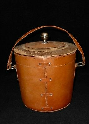 Vintage Mid Century Leather & Wood ICE BUCKET Metal Grommets Plastic Insert