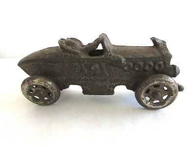 """Antique 1900s AC Williams Cast Iron Boat Tail Race Car - Nickel Wheels - 5 1/2"""""""