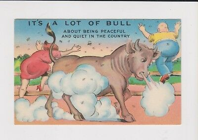 Vintage Postcard Bothersome Bugs and Angry Bull  - unused
