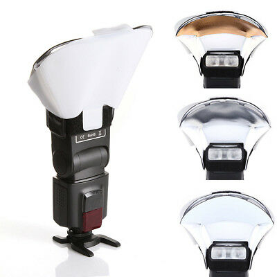 ND_ Universal Speedlight Flash Light Bounce Diffuser+3 Colors Reflector Cards