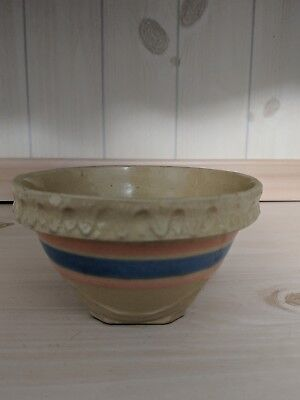 Vintage Yellow Ware Stoneware Mixing Bowl Small Pink And Blue