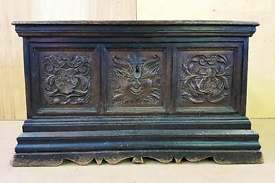 18 Century Antique Hand Carved Solid Oak European French Treasure Chest, Trunk