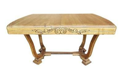 Antique Massive Solid Sturdy Vintage French Oak Art Deco Style Dining Table