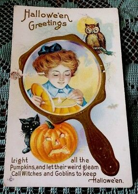 Antique HALLOWEEN Girl, Pumpkin Owl, Damaged Used POSTCARD, Please See Photos!