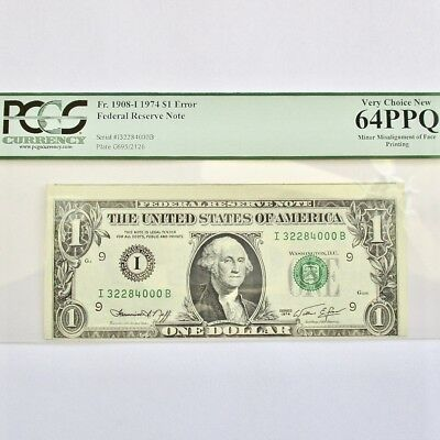 1974 $1 Dollar Bill Federal Note ERROR Misalignment of Face Printing PCGS 64PPQ