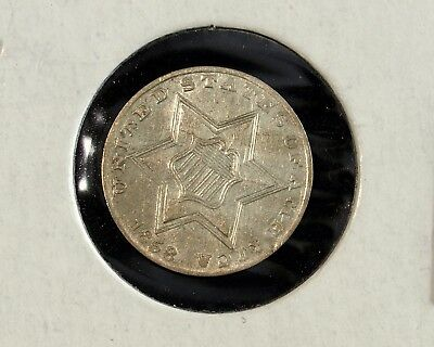 1858 Almost Uncirculated 3 Cent Silver ☆☆ Nice Silver Trime ☆☆