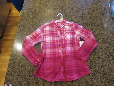 Faded Glory Girls Pink Plaid Flannel Long Sleeve Shirt L 10/12 NWT New Rose NWT