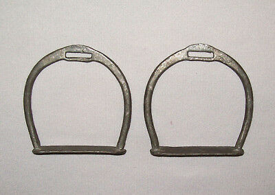 Old Antique Vtg 19th C 1800s Pair of Child Size Cast Iron Stirrups for Pony Sadd