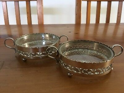 Pair of Ornate Antique Vintage Silver plate & glass, candy / jam serving dishes